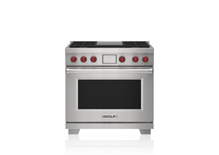 "Wolf 36"" Dual Fuel Range - 4 Burners and Infrared Griddle DF36450G/S/P"