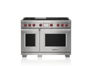 "Wolf 48"" Dual Fuel Range - 4 Burners, Infrared Charbroiler and Infrared Griddle DF48450CG/S/P"