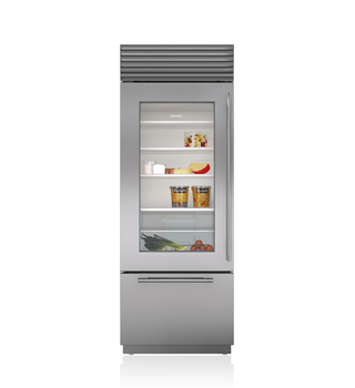 "Sub-Zero 30"" Classic Over-and-Under Refrigerator/Freezer with Glass Door BI-30UG/S"