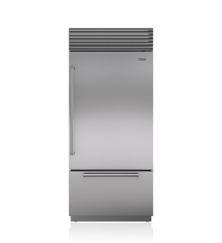 "Sub-Zero 36"" Designer Series over-and-under refrigerator and freezer with internal dispenser and ice maker"