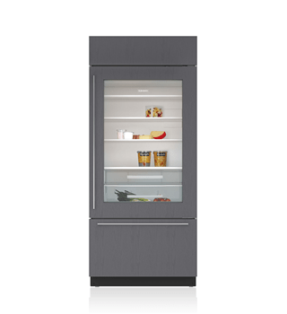 "Sub-Zero 36"" Classic Over-and-Under Refrigerator/Freezer with Glass Door - Panel Ready BI-36UG/O"
