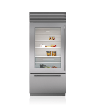 "Sub-Zero 36"" Classic Over-and-Under Refrigerator/Freezer with Glass Door BI-36UG/S"