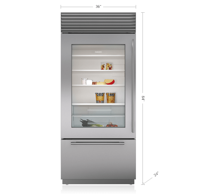 Sub zero 36 classic over and under refrigerator freezer with glass door bi 36ug s - Glass door refrigerator freezer ...