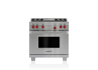 "Wolf 36"" Dual Fuel Range - 4 Burners and Infrared Griddle DF364G"