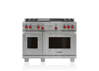 "Wolf 48"" Dual Fuel Range - 4 Burners, Infrared Charbroiler and Infrared Griddle DF484CG"