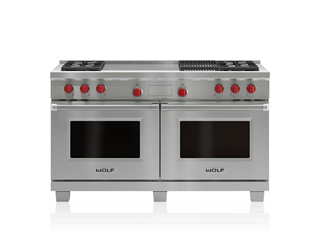 "Wolf 60"" Dual Fuel Range - 4 Burners, Infrared Charbroiler and French Top DF604CF"