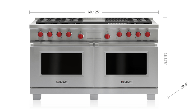 60 Dual Fuel Range 6 Burners Infrared Charbroiler And Griddle Df606cg Wolf Liances