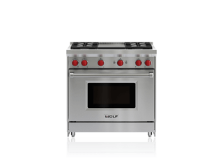 "Wolf 36"" gas range featuring an infrared griddle"