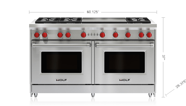 60 Gas Range 6 Burners And Infrared Dual Griddle Gr606dg