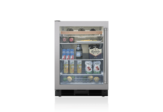 Sub-Zero undercounter refrigerator with stainless and glass door