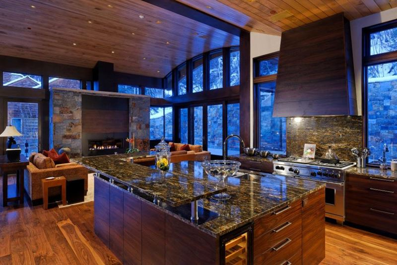 Mountain modern sub zero wolf and cove kitchens for Mountain home kitchen design
