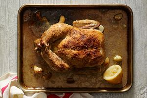 Roast Chicken with Garlic and Lemon Pan Gravy