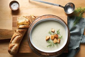 Roasted Fennel Soup with Thyme Croutons