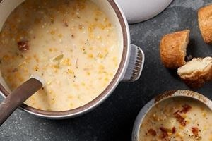 Seal fresh corn in the Wolf Vacuum Seal Drawer to enjoy this delicious chowder all year long.