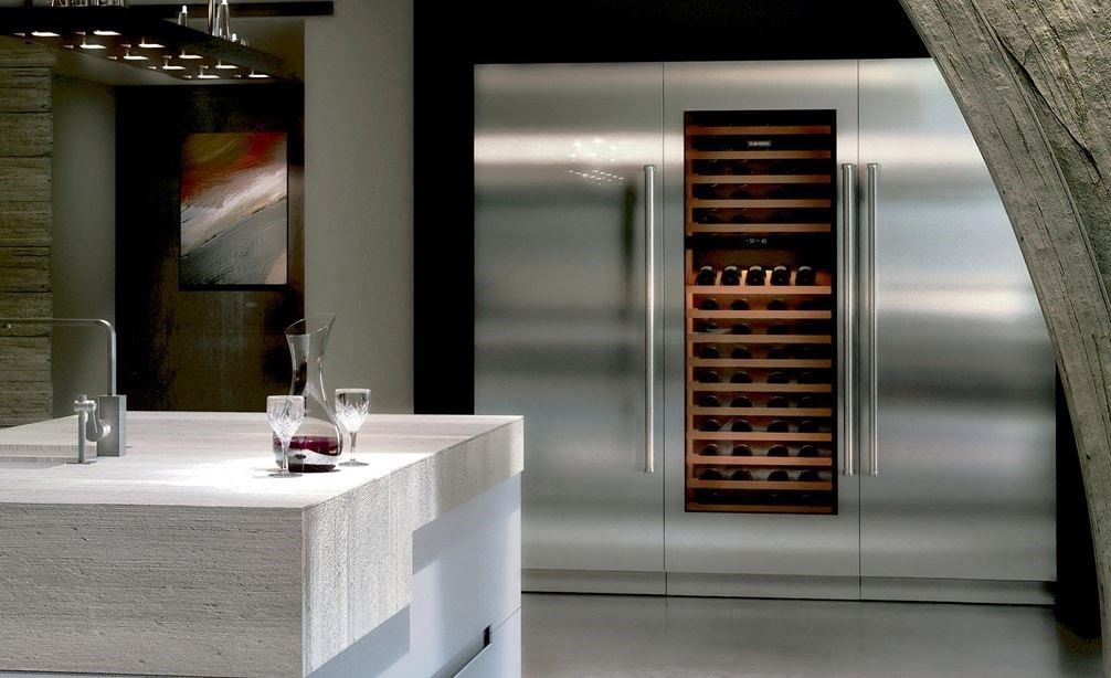 "Sub-Zero 30"" Designer Wine Storage (IW-30) shown with Wolf 48"" Dual Fuel Range - 4 Burners Infrared Charbroiler (DF484CG)"