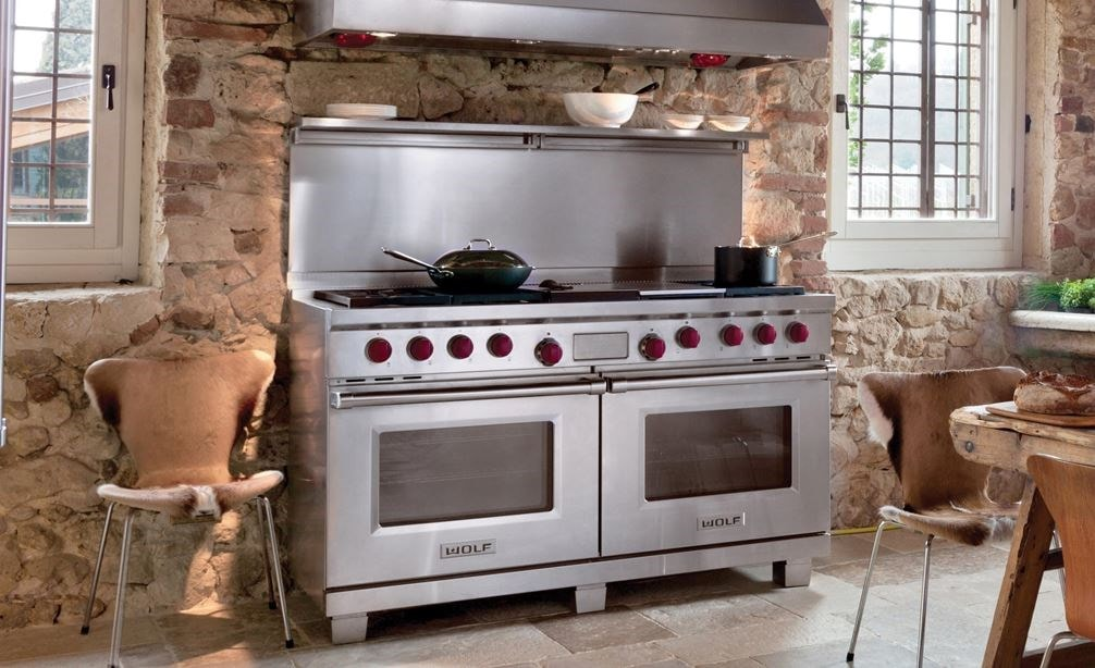 "The Wolf 60"" Dual Fuel Range 6 Burner Infrared Charbroiler Griddle (DF606CG) shown with Wolf 60"" Pro Wall Hood - 27"" Depth (PW602718)"