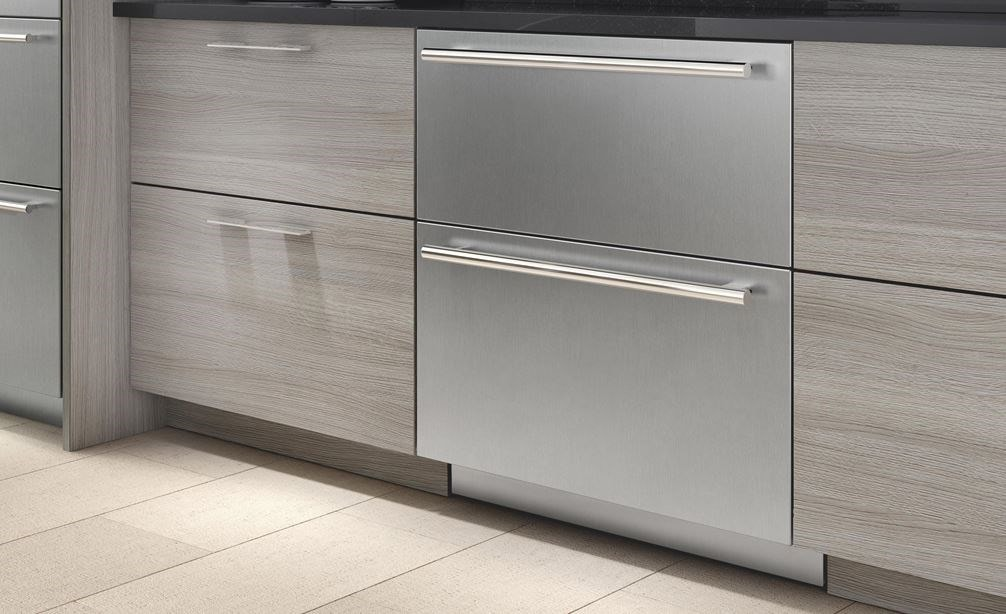 "Sub-Zero 30"" Refrigerator and Freezer Drawer Panel Ready (ID-30C) disappears thanks to custom panels and handles for seamless installation."