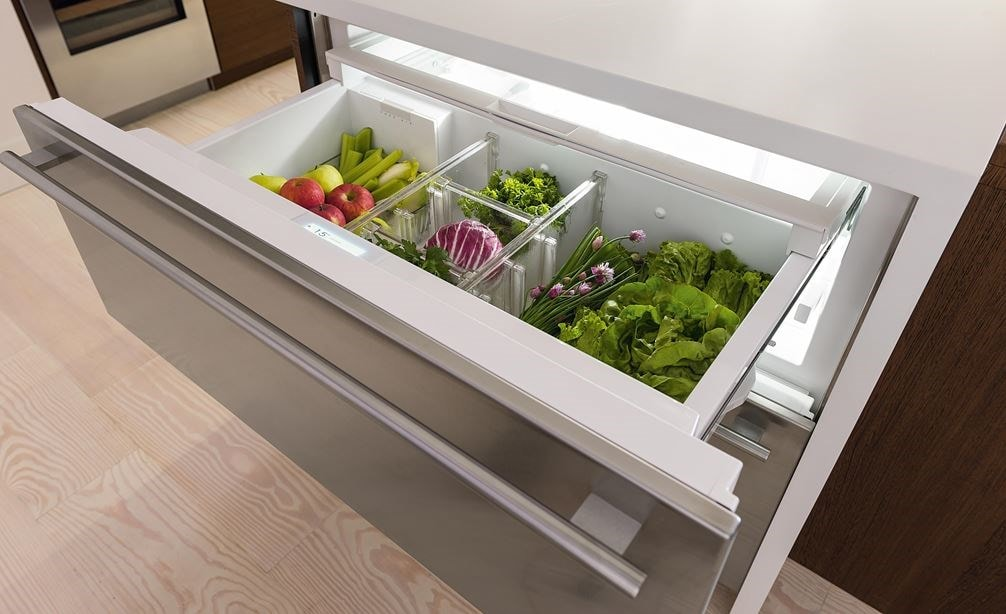"Sub-Zero 30"" Refrigerator and Freezer Drawer Panel Ready (ID-30CI) features a rich feel and noiseless operation thanks to soft-close doors"