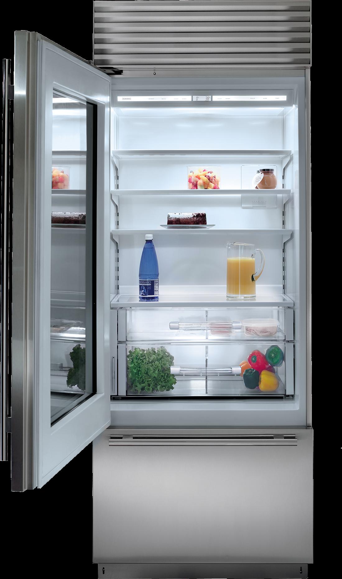 "Sub Zero Glass Door Refrigerator 30"" classic over-and-under refrigerator/freezer with glass door"