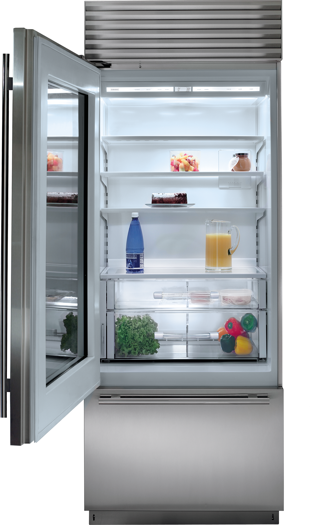 30 Built In Over And Under Glass Door Refrigeratorfreezer Bi