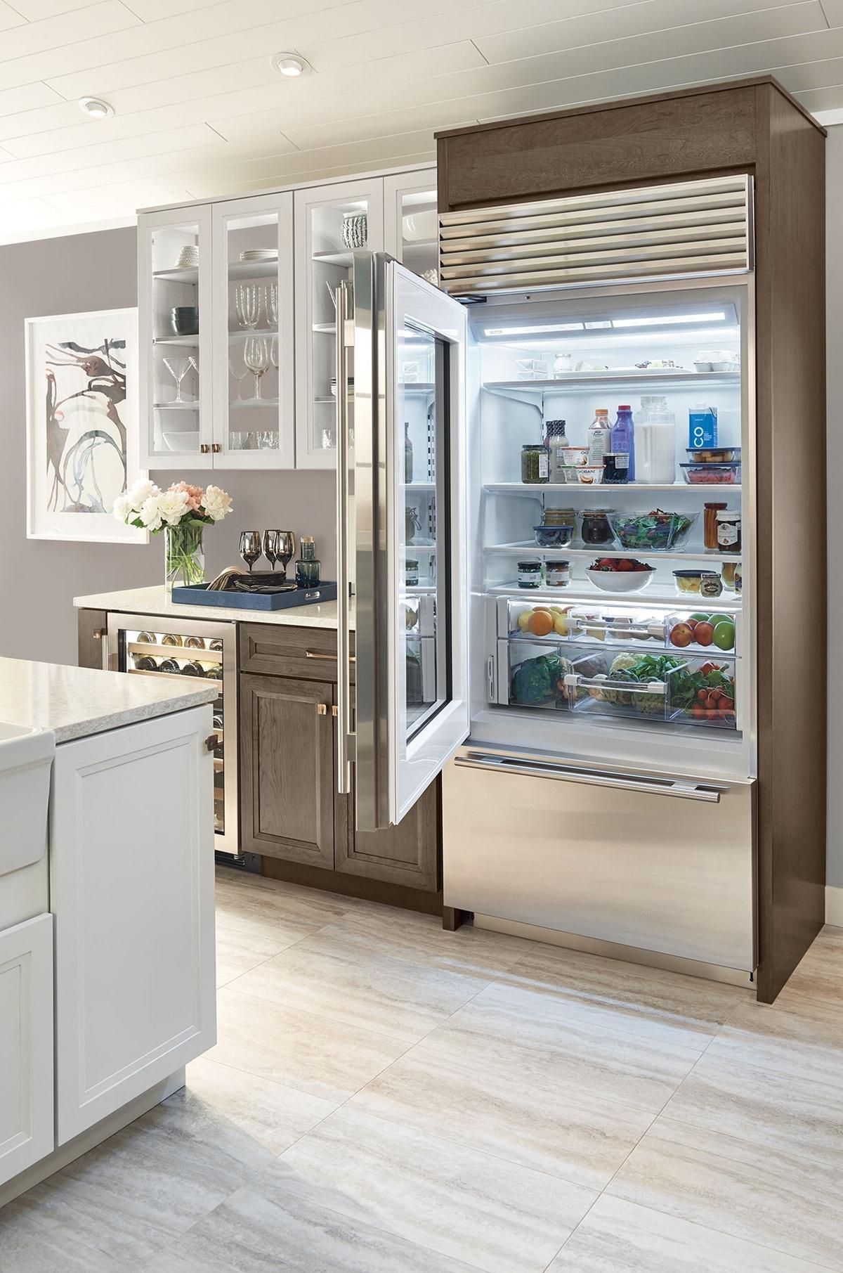 Sub zero 36 classic over and under refrigerator freezer - Glass door refrigerator freezer ...