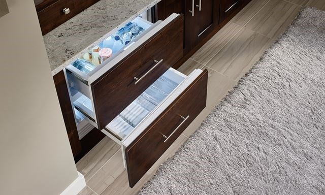 Sub-Zero refrigerator drawers used outside of the kitchen in luxurious spa