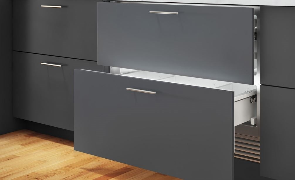 "Sub-Zero 36"" Refrigerator Drawers with Air Purification Panel Ready (ID- 36RP) displaying flush custom panels and stainless-steel handles"