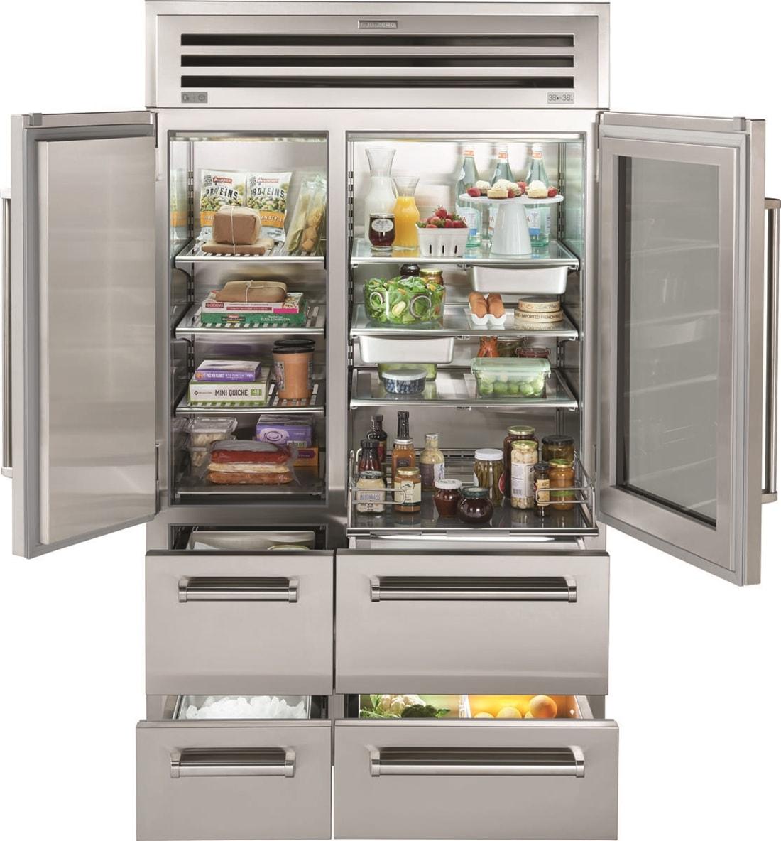 """Sub Zero Glass Door Refrigerator 48"""" pro refrigerator/freezer with glass door"""