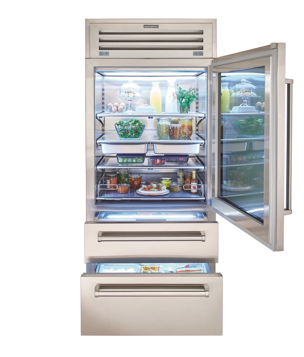 """Sub Zero Glass Door Refrigerator 36"""" pro refrigerator/freezer with glass door"""