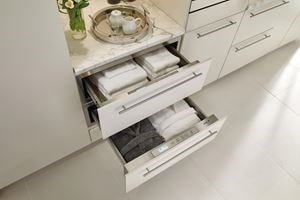 "Wolf 30"" Warming Drawer used in bathroom to keep robes and towels warm and cozy"
