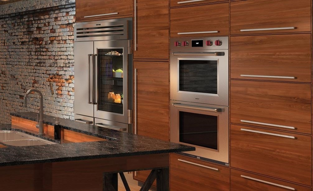 "The Wolf 30"" M Series Professional Double Oven (DO30PM/S/PH) shown integrated into an urban industrial kitchen design style"