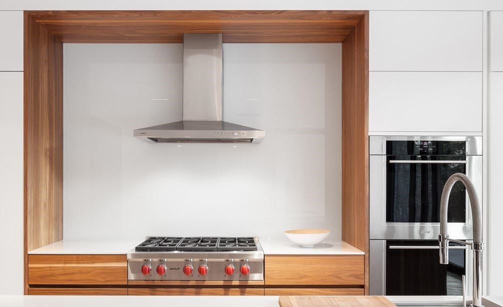 "The Wolf 36"" Cooktop Wall Hood - Stainless (VW36S) shown with Wolf 36"" Sealed Burner Rangetop - 6 Burners (SRT366)"