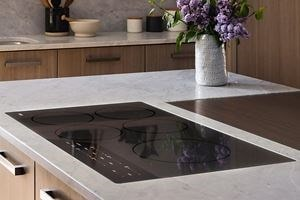 "Wolf 36"" Contemporary Induction Cooktop (CI365C/B) with a 42"" Cooktop Island Hood in Black (VI42B)"