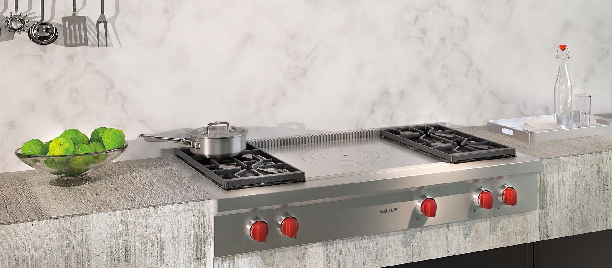 "Wolf 48"" Sealed Burner Rangetop - 4 Burners and French Top (SRT484F)"