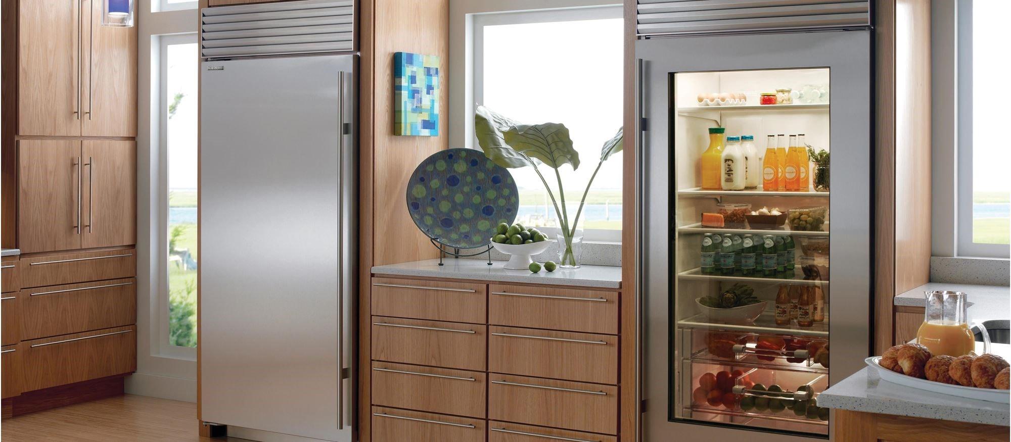 """Sub Zero Glass Door Refrigerator 36"""" classic refrigerator with glass door"""
