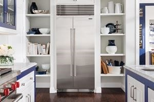 Stainless steel full size Sub-Zero fridge and freezer