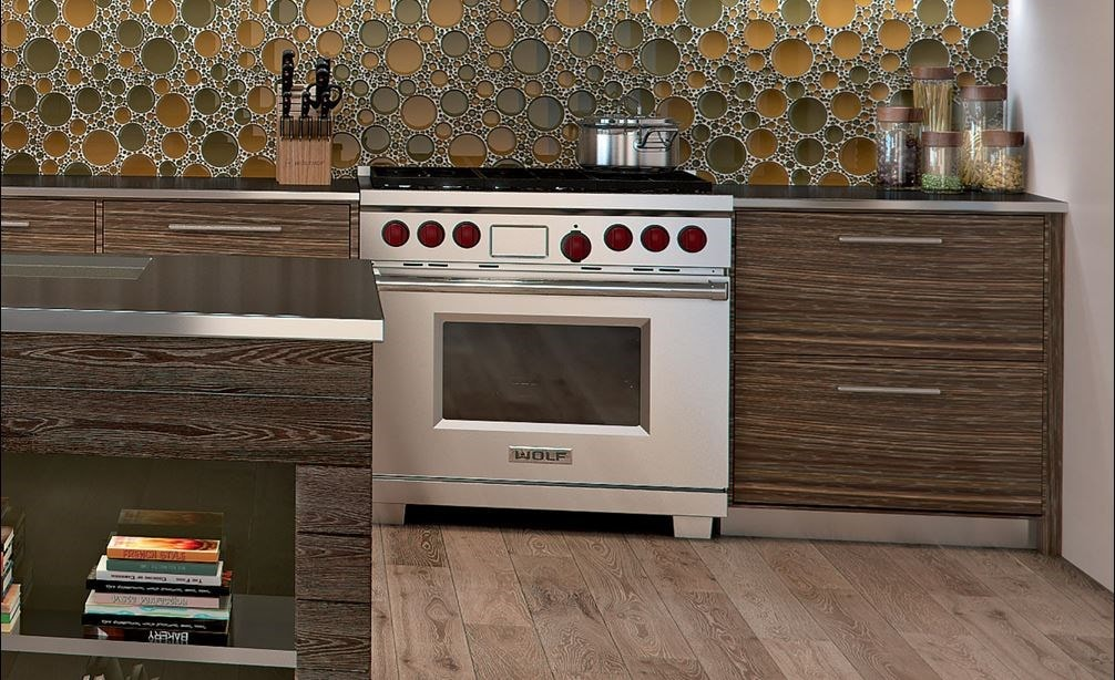 "The Wolf 36"" Dual Fuel Range 6 Burner (DF366) Cooktop with Wolf 36"" Pro Wall Hood - 24"" Depth (PW362418)"