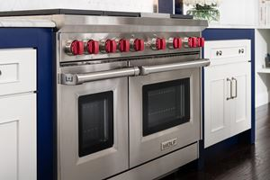 "Wolf 48"" gas range GR486C with 6 burners and infrared charbroiler"
