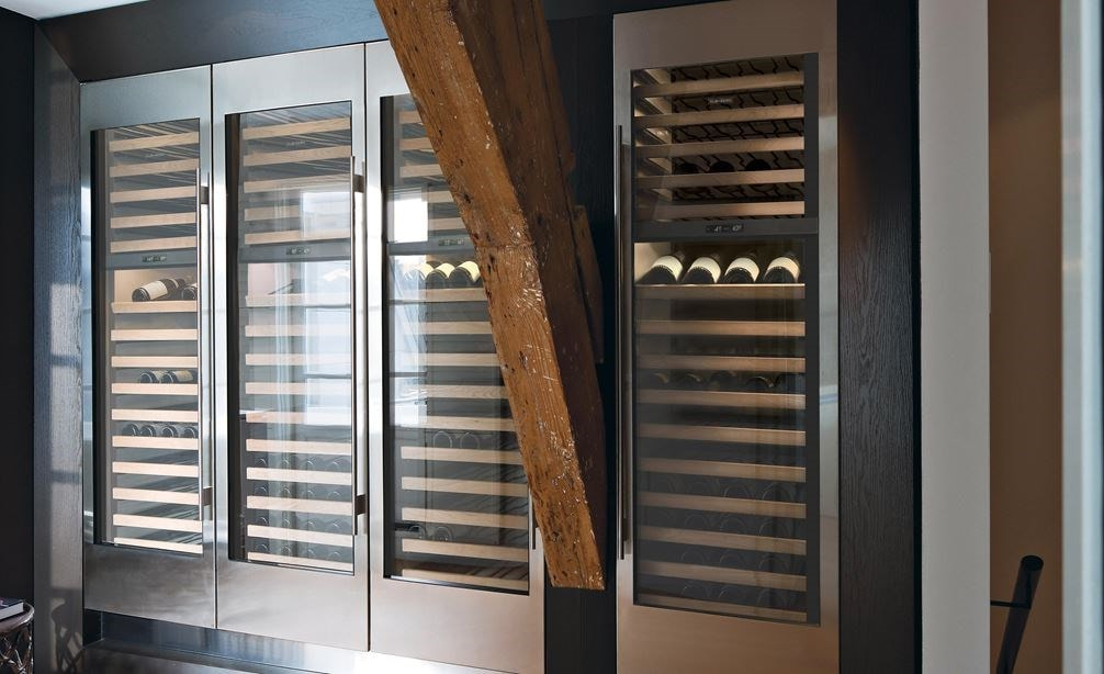 "Set of 4 Sub-Zero 24"" Wine Storage (IW-24) units shown together creating a seamless modern look."