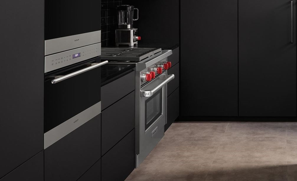 "Wolf 30"" Gas Range (GR304) Rangetop and 24"" E Series Transitional Convection Steam Oven (CSO24TE/S/TH)"