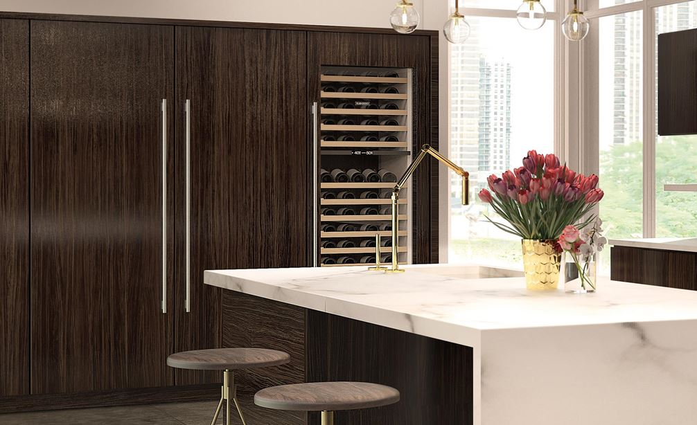 "Sub-Zero 30"" Designer Column All Freezer (IC-30FI) displayed with Sub-Zero 30"" Wine Storage (IW-30)"