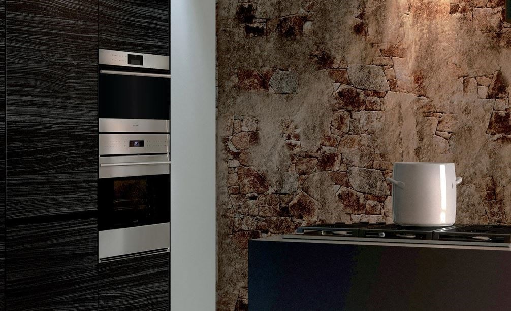 "Wolf 30"" E Series Transitional Convection Steam Oven (CSO30TE/S/TH) shines in a richly designed kitchen displaying dark panel cabinetry"