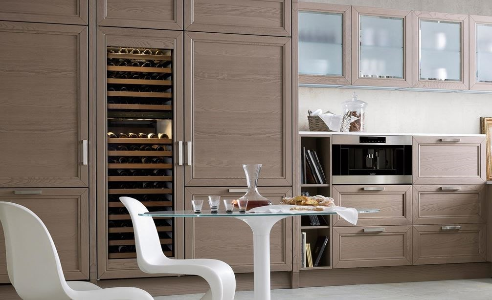 "Sub-Zero 30"" Overlay Wine Storage (BW-30/O) paired with 36"" Classic French Door Refrigerator/Freezer with Internal Dispenser (BI-36UFDID/O)"