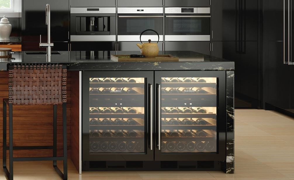 "Sub-Zero 24"" Undercounter Wine - Panel Ready (UW-24/O) shown with Wolf 24"" E Series Transitional Convection Steam Oven (CSO24TE/S/TH)"