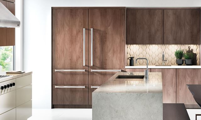 Sub-Zero Designer (formerly Integrated) refrigerators overlaid with custom cabinet panels