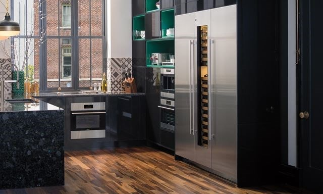 3 Sub-Zero refrigerators combined to meet all refrigeration needs - designer (integrated) column fridge, freezer and wine storage
