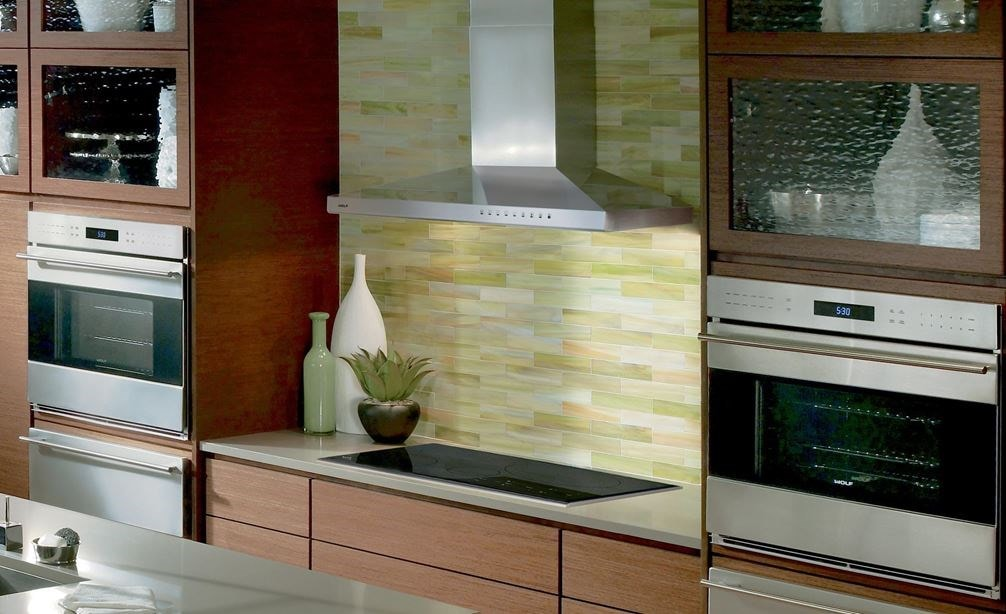 "The Wolf 36"" Cooktop Wall Hood - Stainless (VW36S) featured with Wolf 24"" Transitional Drawer Microwave (MD24TE/S)"