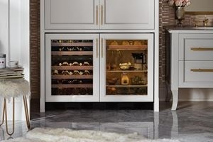 "Stunning Sub-Zero 24"" Undercounter Beverage Center paired with 24"" Undercounter Wine Storage unit keeps beverages cold in any room of the house"