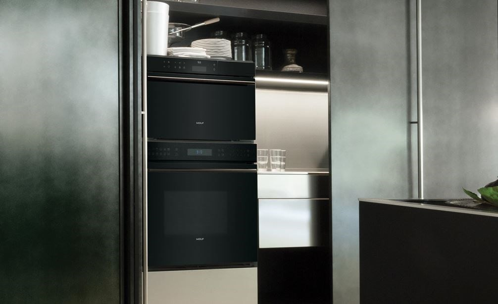 "Wolf 30"" E Series Contemporary Convection Steam Oven (CSO30CM/B/TH) paired with Sub-Zero 30"" Designer Column Refrigerator (IC-30RID)"