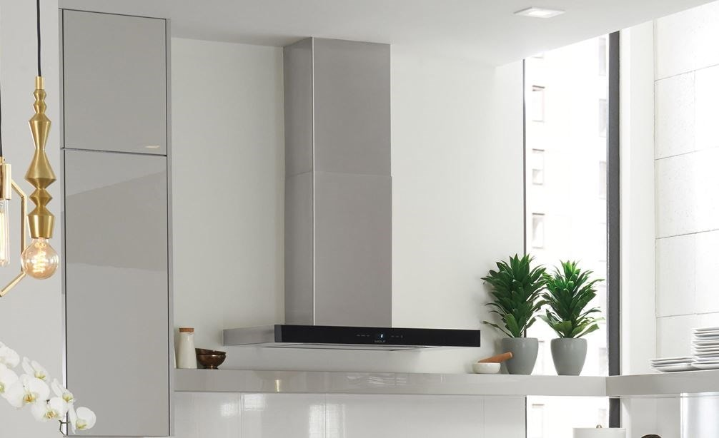 "The Wolf 30"" Cooktop Wall Hood - Black (VW30B) featured in an open, fresh, light and functional modern kitchen design"